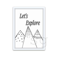 mountain range, bohemian art Sign, printable travel quote, nature forest decors, nursery boy room, black and white, let's explore, camping