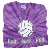 Live It, Love It, Play It Tiedye Volleyball T-Shirt