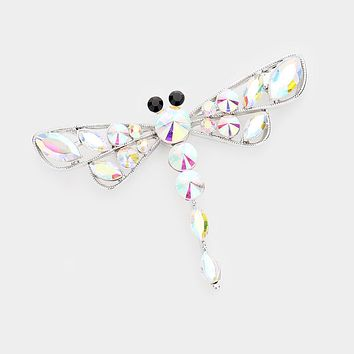 Dragonfly Crystal Statement Pin Brooch