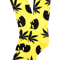 The Huf X Wu-Tang Plantlife Socks in Yellow