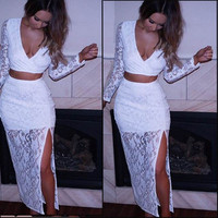 White Lace V-Neck Crop Tank Top With Paired Slit Skirt
