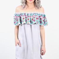 Ruffled Up Off Shoulder Floral Embroidered Dress {Silver} - Size LARGE