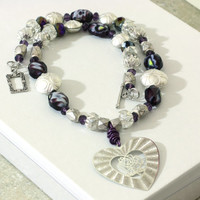 Purple and Silver Heart Pendant Beaded Necklace is Handmade from glass and metal beads with a laser etched heart pendant