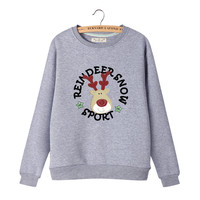 Women's Cute Cartoon Reindeer with Reindeer Snow Sport Encircle Print Long Sleeves Sweat Shirt