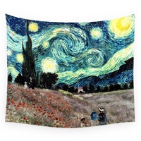 Society6 Monet s Poppies With Van Gogh s Starry N Wall Tapestry