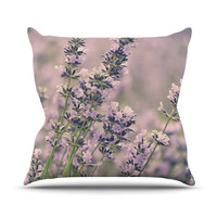"""Robin Dickinson """"Smell the Flowers"""" Lavender Green Outdoor Throw Pillow"""