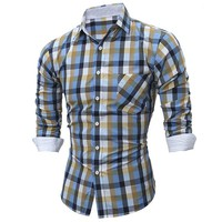 Men's Plaid Casual Shirt Long Sleeve Buttons Turn Down Collar Lapel Tops Cotton