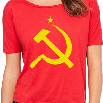 Ladies Soviet Union Shirt Yellow Hammer and Sickle Open Back Tee