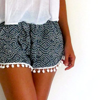 Pom Pom Shorts - Navy and White dot pattern with White Pom Pom Trim - lightweight chiffon