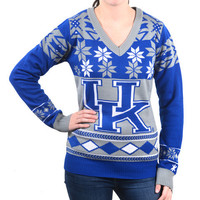 "Kentucky Wildcats Women's Official NCAA ""Big Logo"" V-Neck Sweater by Klew"