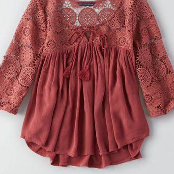 AEO Women's Lace Peasant Top