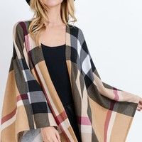 Plaid Poncho - Taupe/Black