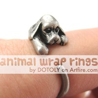 Cocker Spaniel Puppy Dog Animal Wrap Ring in Silver - Sizes 4 to 8.5 Available