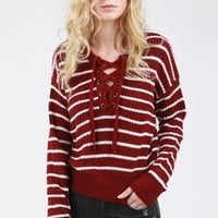 POL Drop Shoulder Stripe Sweater with Lace Up Detail