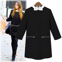 Bow Neck Sleeve Shift Dress With Zip-Pocket