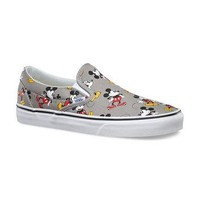 Vans Disney Gray Mickey Mouse Classic Slip On Shoes Mens US Size 11
