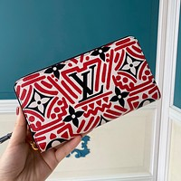 Louis Vuitton LV Fashion Trend Printed Small Wallet Long Clutch bag