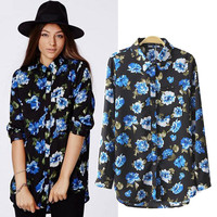 Blue Rose Print Shirt Collar Long Sleeve Blouse