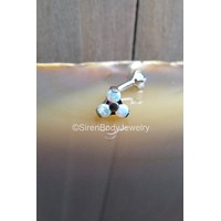White opal cluster 16g curved barbell titanium internally threaded 5mm trio 3mm prong