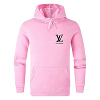 LV 2019 new casual sports men and women hooded sweater Pink