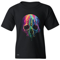 """Zexpa Apparelâ""""¢ Melting Skull Neon Youth T-shirt Dripping Skeleton Paint Tee"""