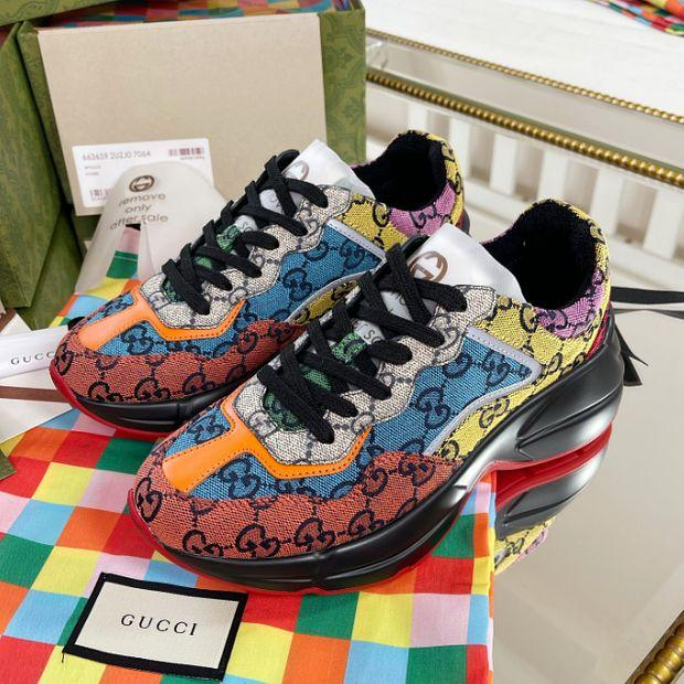 Image of Dior GG Rhyton men's and women's platform sneakers shoes