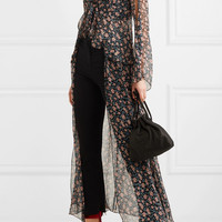 Anna Sui - Lilies of the Valley printed silk-chiffon robe