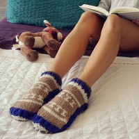 Grey Hand Knit Wool Ankle Tibetan Socks