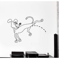 Vinyl Decal Wall Sticker Kids Room Pissing Dog Animal Bully Unique Gift (g042)
