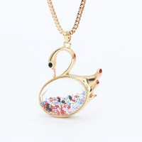 Champagne Long Swan Necklace Pendants Trendy Fashion Jewelry Crystal Sweater Chain Necklace