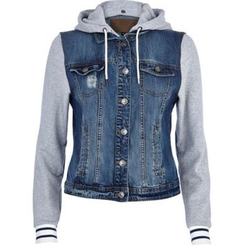 Mid wash contrast jersey sleeve denim jacket - denim jackets - coats / jackets - women