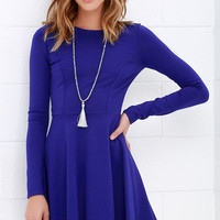 Forever Chic Royal Blue Long Sleeve Dress