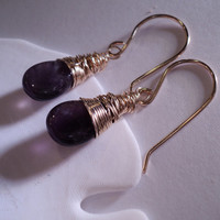 SALE Feb Birthstone Earrings Gold Amethyst Gemstones Wire Wrapped February Birthstone