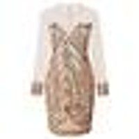 Women Ladies Sexy Sequin Mesh Splicing Bodycon Dress Backless Long Sleeve Club Party Mini Dress