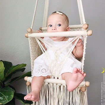 Baby Swing Chair in Macrame | Soft Cotton | Ecru-Cream | HIGH QUALITY | with handmade pillow on request