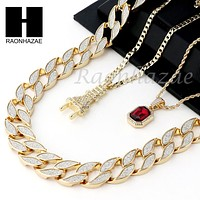 "RUBY PLUG CZ PENDANT 24"" 30"" CUBAN LINK ROPE CUBAN NECKLACE SET D022"