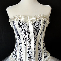 Black on white burlesque corset dress, fluffy white tulle skirt and clear rhinstone trim