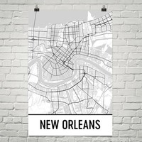 New Orleans Map Street Map Poster