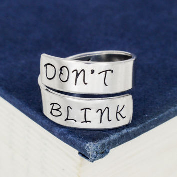 Don't Blink - Doctor Who - Adjustable Aluminum Wrap Ring B