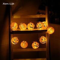 ZMHEGW 2017 New 1 Set Pumpkin 10 LED String Lights Halloween Decoration Lights Warm White Halloween Home Decoration Accessories