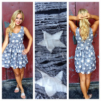 Navy Distressed Star Dress