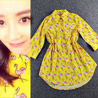 Flamingo Printed Long Sleeve Doll Collar Button Down Yellow Mini Dress
