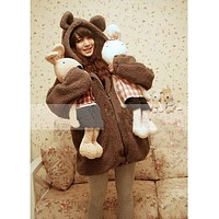 fhotwinter19 Bear bunny cartoon plush jacket with ears and tail
