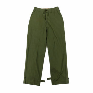 Vintage Green Military Trousers - Olive Drab Pants Army Fatigues Ivy League Menswear - Men's Size Small 30 Waist / 32 Inseam 30W 32L