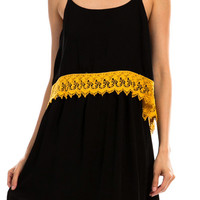 Black & Gold UCF Crocheted Trim Gameday Dress