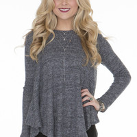 Sweater Knit Heathered Grey Top