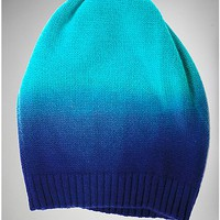 Blue Turquoise Dip Dye Slouchy Beanie Hat - Spencer's