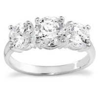 Sterling Silver Round Cut Three-Stone Cubic Zirconia Ring (2.3 cttw), Size 7