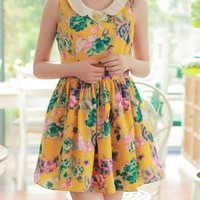 Summer Love Peter Pan Collar Floral Babydoll Dress in Mustard | Sincerely Sweet Boutique