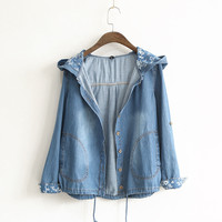 2016 Women Mori Girl Preppy Style Denim Jackets Hooded Drawstring Button Single Breasted Casual Coats Outwear Fall Overcoats